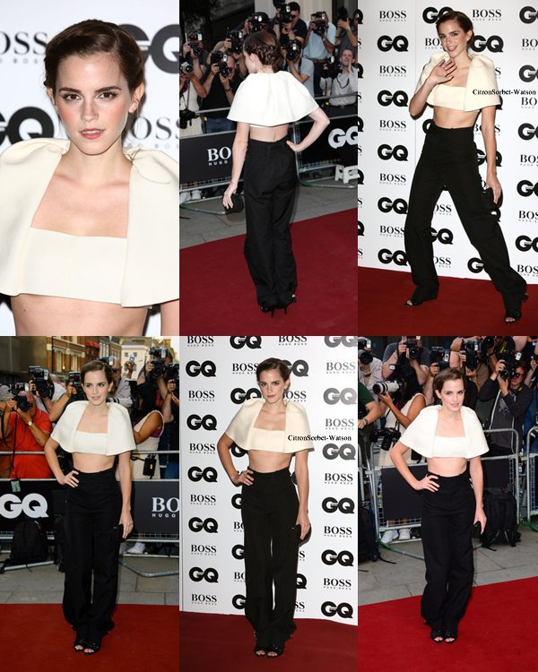 Le 04.09.13 : Emma à son arrivée aux GQ Men of the Year Awards à Londres...