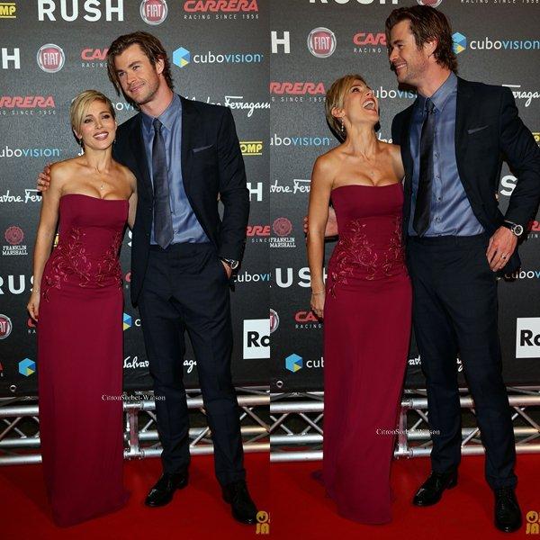 Le 14.09.13 : Chris et sa femme Elsa étaient à Rome pour la première de son film Rush...