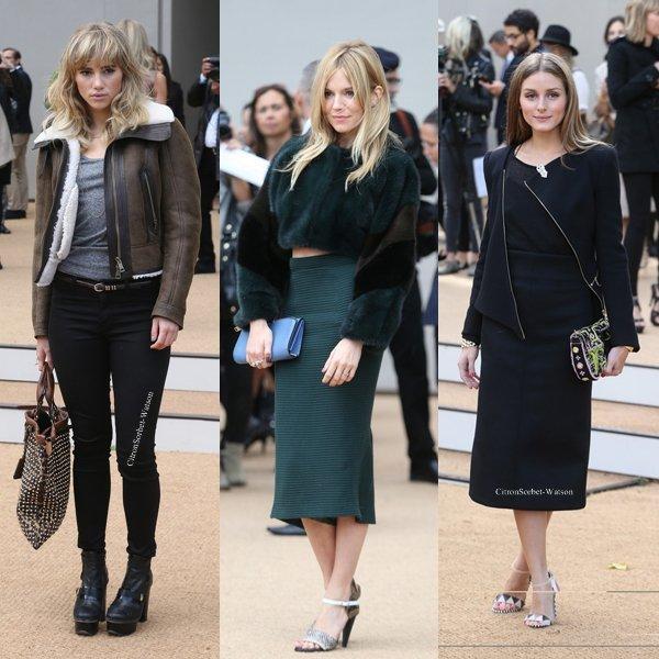 Le 16.09.13 : Cara,Jourdan,Olivia,Suki et Sienna étaient au Burberry Prorsum fashion show à Londres...