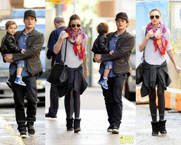 Le 23.09.13 : Miranda accompagnée de son mari Orlando et de son fils Flynn se baladaient dans New-York...