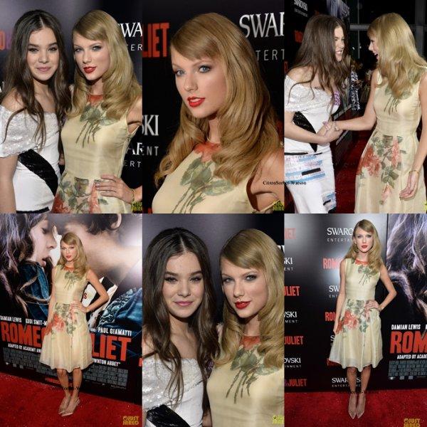 """Le 24.09.13 : Taylor était venue soutenir son amie Hailee Stainfeld à la première de """"Roméo et Juliette"""" à Hollywood..."""