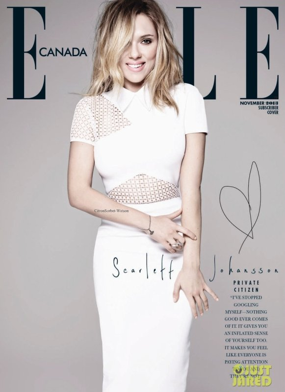 Scarlett en couverture du magazine Elle Canada de Novembre 2013 (Deux versions disponibles)...
