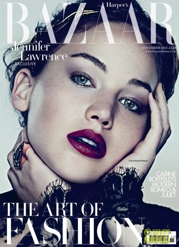 Jennifer en couverture de l'édition de Novembre 2013 du Harper's Bazaar...
