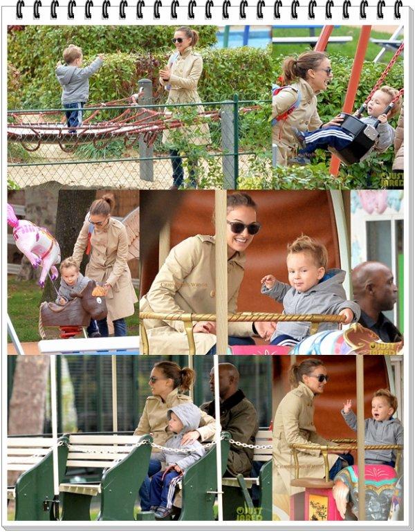 Le 25.10.13 : Natalie et son fils Aleph se baladaient au jardin d'Acclimation dans Paris...