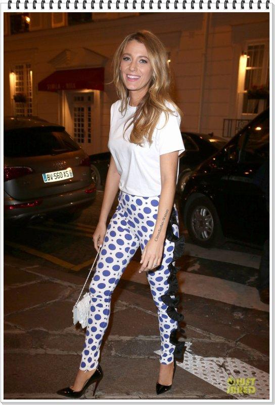 Le 29.10.13 : Dans la soirée,Blake est allée Diner à l'hôtel Balzac toujours à Paris...