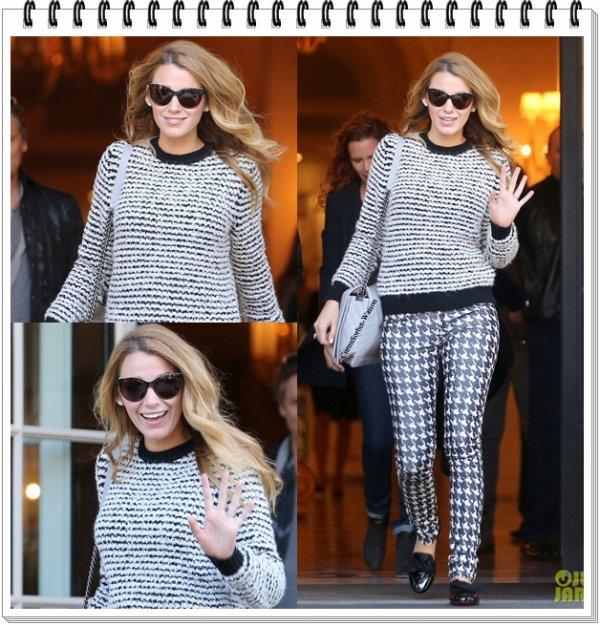 Le 30.10.13 : Blake a été vue sortant de son hôtel dans Paris...