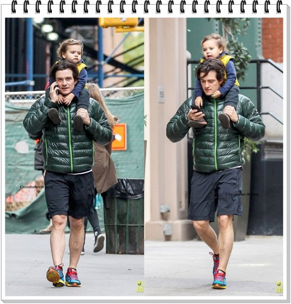 Le 05.11.13 : Orlando se baladait avec son fils Flynn dans les rues de New-York...