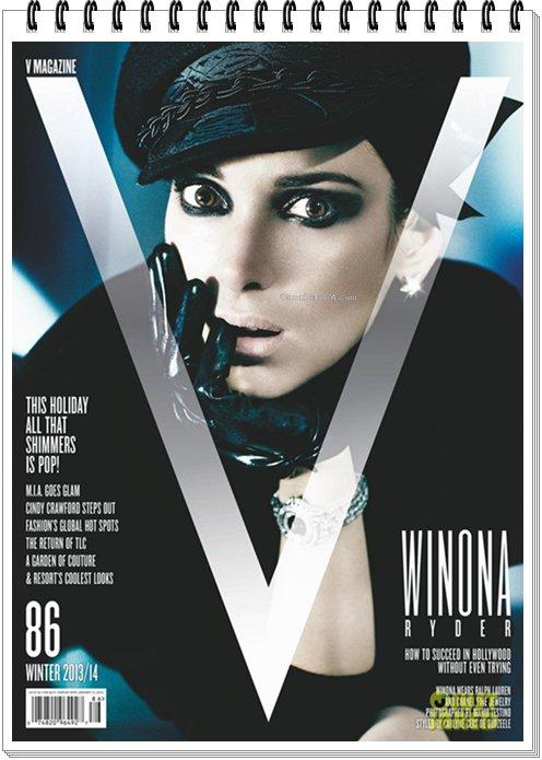 Winona en couverture du magazine V  édition Hiver 2013/14...