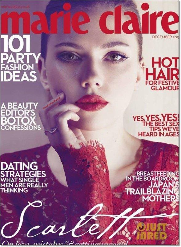Scarlett en couverture de l'édition de Décembre 2013 du magazine Marie Claire UK...