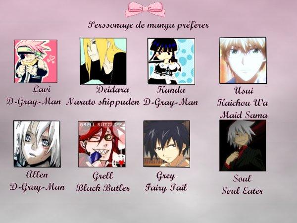 Perssonage Manga Préfèrer ♥