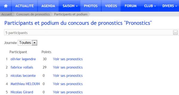 Concours de Pronostics (Journées 01-02-03)