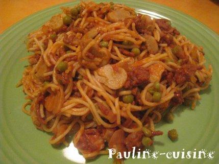 Spaghetti à la bolognaise et aux champignons de Paris