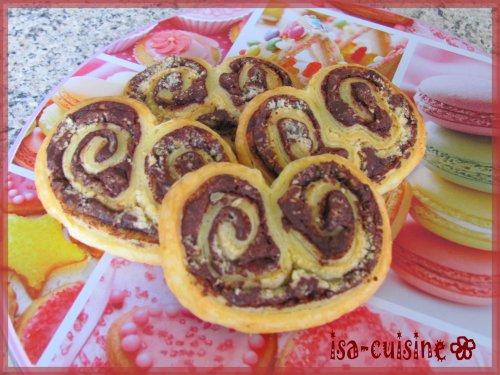 Palmiers chocolat noisettes