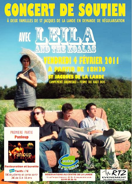 [04/02/11] Leila And The Koalas, concert de solidarité ! < Facebook   Youtube   Myspace   Twitter Fans   Noomiz   Forum >