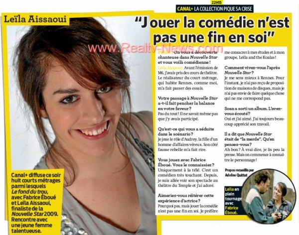 [03/02/10] Leïla Comédienne - Article de Public < Facebook | Youtube | Myspace | Twitter Fans | Noomiz | Forum >