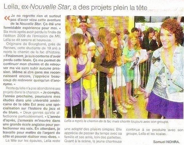 [31/12/09] Article Ouest France : « Des projets plein la tête » < Facebook | Youtube | Myspace | Twitter Fans | Noomiz | Forum >