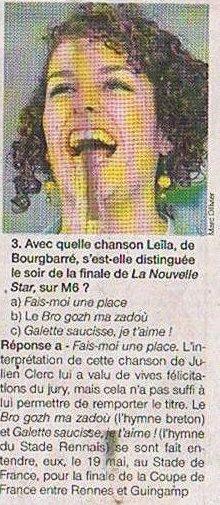 [30/12/09] Articles Ouest-France : « Ces Bretons que nous avons aimé en 2009 » Et « Les douze questions pour réviser l'Ille et Vilaine en 2009 » < Facebook | Youtube | Myspace | Twitter Fans | Noomiz | Forum >