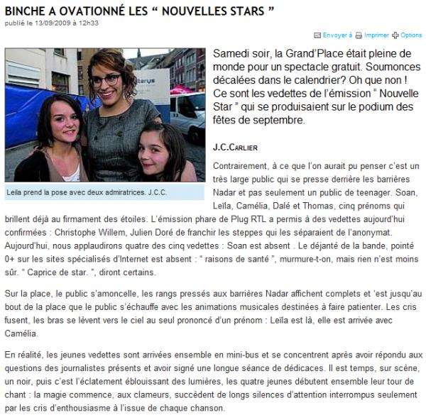 [12/09/09] Concert de la Tournée Nouvelle Star à Binche < Facebook | Youtube | Myspace | Twitter Fans | Noomiz | Forum >