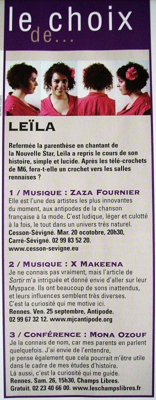 [01/09/09] Leïla dans un magazine Rennais ! < Facebook | Youtube | Myspace | Twitter Fans | Noomiz | Forum >