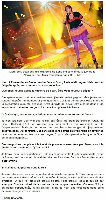 [11/06/09] Leïla interviewée par Ouest France « Continuer dans la musique ? On verra. » < Facebook | Youtube | Myspace | Twitter Fans | Noomiz | Forum >