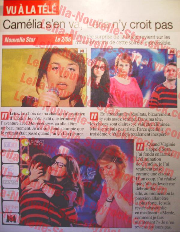 [02/06/09] Article sur Leïla dans TVGrandesChaînes < Facebook | Youtube | Myspace | Twitter Fans | Noomiz | Forum >
