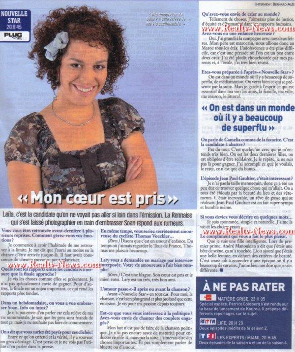 [18/05/09] Interview de Leïla dans Ciné Télé Revue « Mon coeur est prit » < Facebook | Youtube | Myspace | Twitter Fans | Noomiz | Forum >