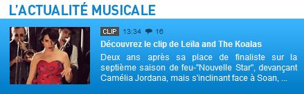 [30/05/11] Article de ChartsInFrance.net sur le Clip de Leila And The Koalas ! < Facebook | Youtube | Myspace | Twitter Fans | Noomiz | Forum >