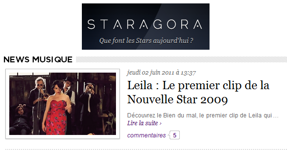 [02/06/11] Article de Staragora sur le Clip de Leila And The Koalas ! < Facebook | Youtube | Myspace | Twitter Fans | Noomiz | Forum >