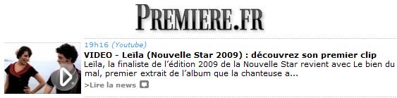 [03/06/11] Article de Première.fr sur le Clip de Leila And The Koalas ! < Facebook | Youtube | Myspace | Twitter Fans | Noomiz | Forum >