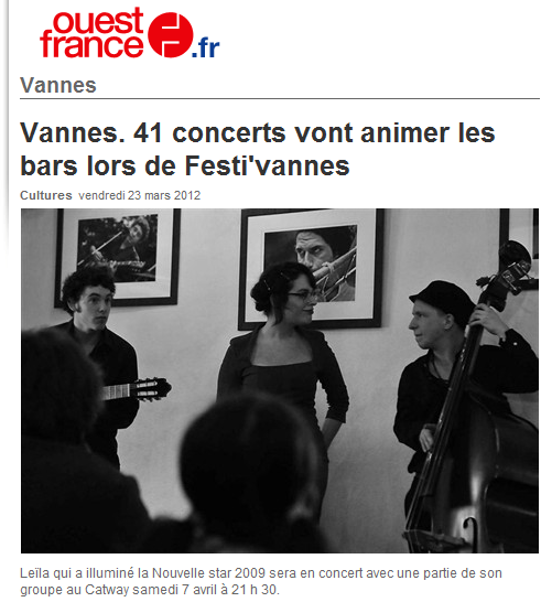 [23/03/12] Article Ouest-France - Promotion du « Festi' Vannes » < Facebook | Youtube | Myspace | Twitter Fans | Noomiz | Forum >