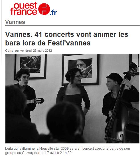 [23/03/12] Article Ouest-France - Promotion du « Festi' Vannes » < Facebook | Youtube | Myspace | Twitter Fans | Noomiz | Forum >