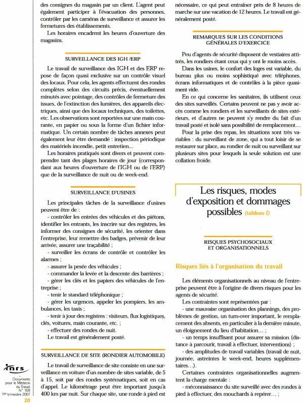 évaluation et prévention des risques chez les agents de sécurité .