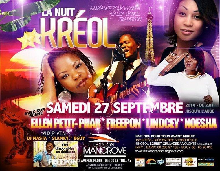 La Nuit Kreol au Salon Mangrove le 27 septembre