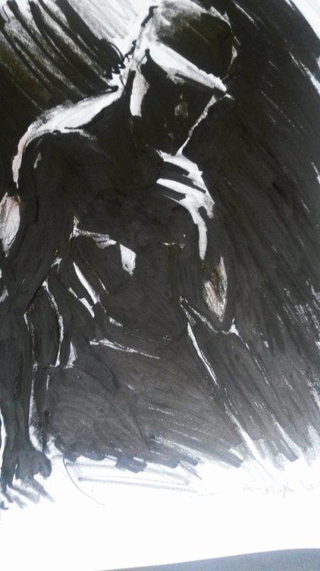 crayon et feutre (gros aplats de noirs direct  )