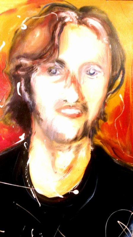 autoportrait à l'huile sur toile ( d'après photo , année ; 1999 )