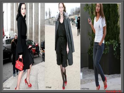Robe noir et chaussure rouge