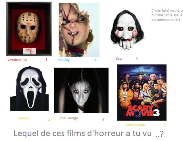 Lequel de ces films d'horeur a tu vu ?