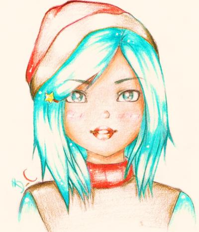 Fille cheveux Bleu
