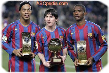 Messi Ronaldiniho and Eto'o
