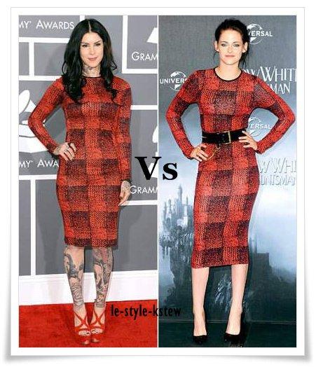 Qui porte le mieux ... la robe Derek Lam ? Kristen ou Kat Von D. ?