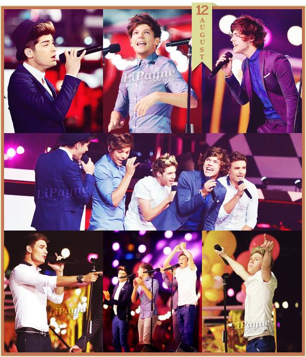 .  AUGUST, 12 : Les One Direction pendant leur performance aux J.O.  ♥   .