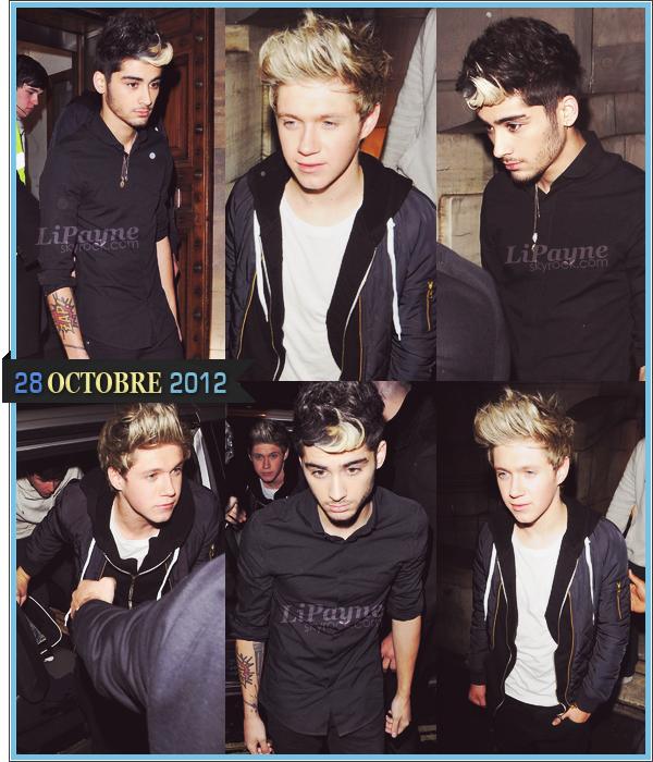 . _28/10_~_Zayn & Niall ont été vus hier soir sortant du Aura Nightclub à Mayfair (Londres)._ .