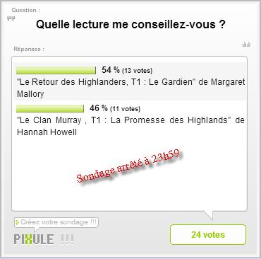Résultat du sondage «Prochaine lecture»
