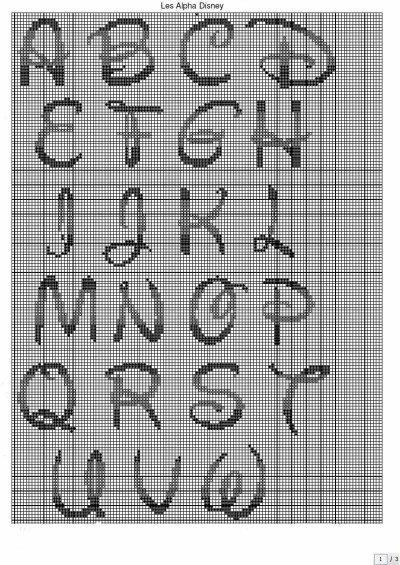 """alphabet disney que j'ai utilisé pour la serviette """"Anthony"""" avec les logos de Marseille"""