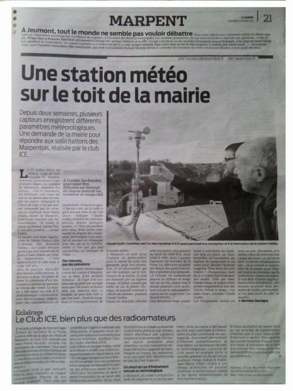 Notre station météo dans la presse...
