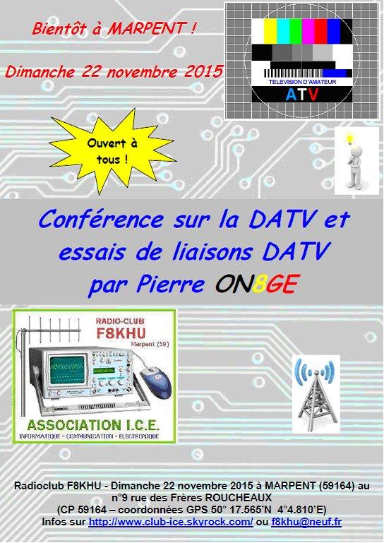 Conférence sur la DATV et essais de liaisons DATV - 22 novembre 2015 - F8KHU radioclub de MARPENT.