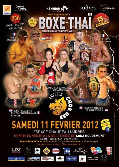 CAMPIONNAT DU MONDE WBC MUAY THAI A LUDRES 11 FEVRIER 2012