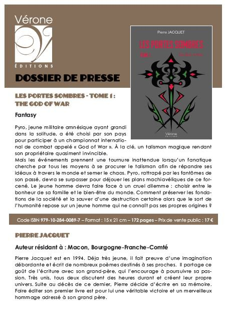 Dossier de presse fait par Vérone Edition