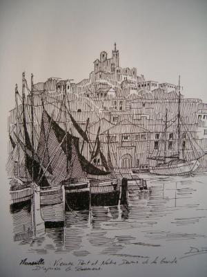 Marseille le vieux port notre dames mes dessins tout simplement - Adresse du port de marseille ...
