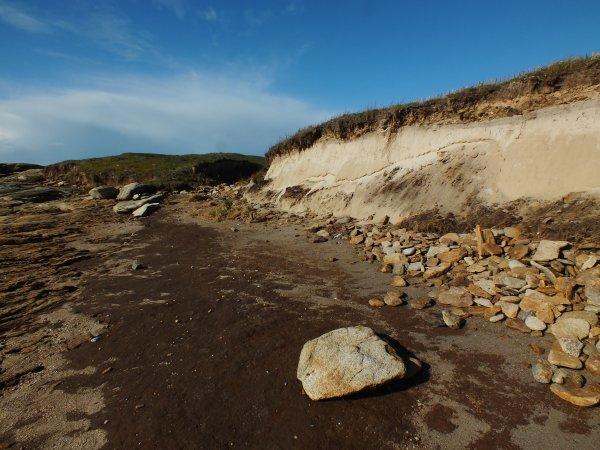 Erosion par les deux dernières tempêtes au Conguel